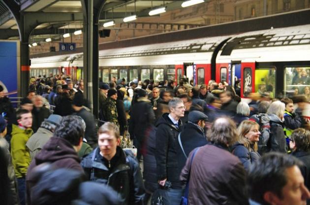 Pendulaires à la gare de Genève